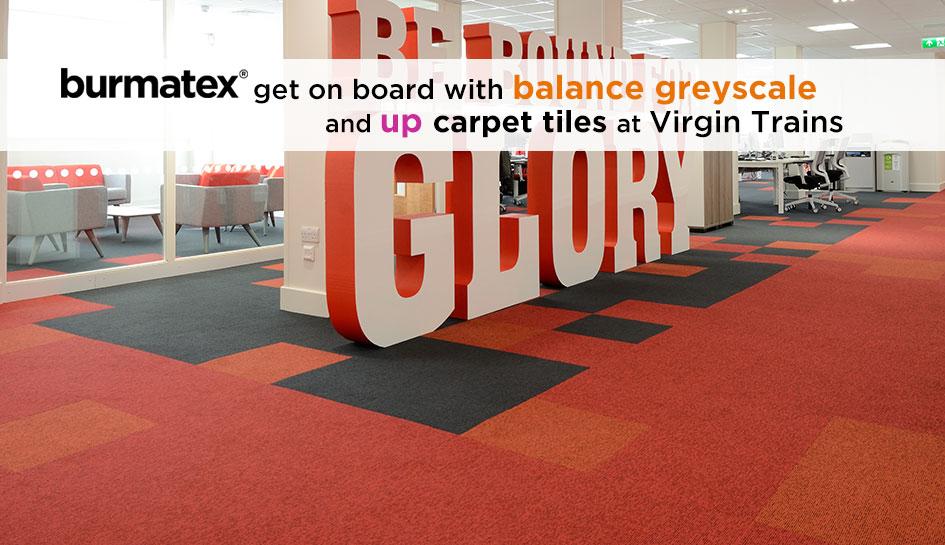 balance greyscale & up carpet tiles Virgin Trains