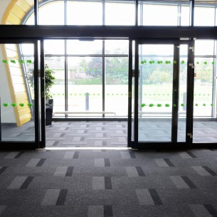 Peterborough College - carpet tiles: armour sterling block and stripe