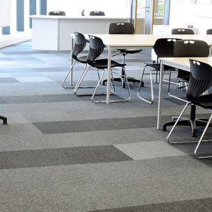 balance stripe carpet tiles in university - education sector