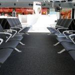 Gdansk Airport, balance stripe carpet tiles