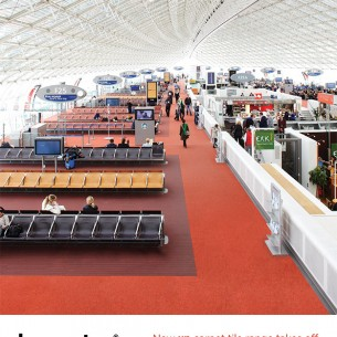 2014 up strands carpet tiles at Paris airport