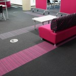 Bradford College strands, balance stripe carpet tiles