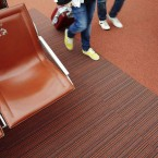 up & strands carpet tiles at Charles de Gaulle Airport in Paris
