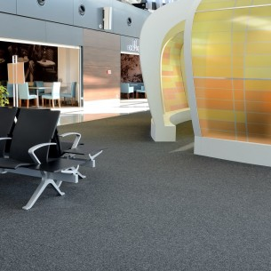 Gdansk Airport, balance stripe carpet tiles