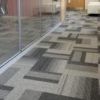 balance atomic carpet tiles at V Installations offices