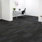 hadron titanium, papya, starling & sparkle carpet tiles