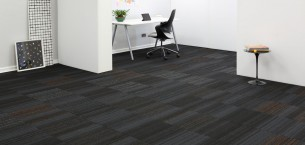 hadron titanium, papya, starling & sparkle carpet tiles