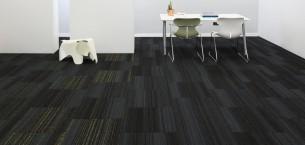 hadron titanium, firefly & moss carpet tiles