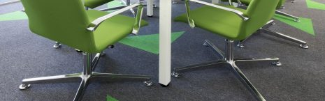 grey and green go to carpet tiles in office